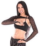 High-Quality Mesh Shrug with Rhinestones - BLACK