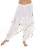 Endless Wave Bollywood Ruffle Harem Pants - WHITE / GOLD