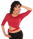 3/4 Sleeve Criss-Cross Tie Top Choli - RED ROSE