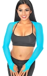 Long Sleeve Mesh Shrug with Finger Loops - BLUE TURQUOISE