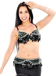 Sequin Beaded Bra and Belt Set with Teardrop Paillettes - BLACK / SILVER