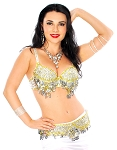 Sequin Beaded Bra and Belt Set with Teardrop Paillettes - SILVER / GOLD