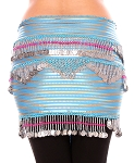 CAIRO COLLECTION: Floral Metallic Print Beaded Coin Hip Scarf - TURQUOISE / SILVER