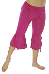Comfy Tribal Fusion Capri Belly Dance Pants with Removable Hip Wrap - MAGENTA