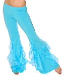 Belly Dance Stretch Pants with Ruffle Accents - BLUE TURQUOISE