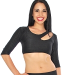 3/4 Sleeve Tribal Fusion Dance Half Top with Slash Front Accent - BLACK
