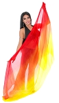 Ombre Silk Belly Dance Veil - RED / ORANGE / YELLOW