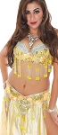 Professional Belly Dance Costume with Rhinestones & Fringe - YELLOW / GOLD