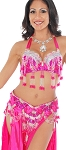 Professional Belly Dance Costume with Rhinestones & Fringe - FUCHSIA