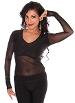 Long Sleeve Half Top with Mesh Sleeves and Belly Cover - BLACK