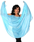 Petite Semi-Circle Chiffon Belly Dance Veil with Sequin Trim - TURQUOISE / SILVER