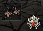 Halloween Witch Costume Black Widow Spider Earrings and Ring Set