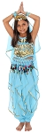 Little Girls Endless Waves Arabian Princess Bollywood Costume - BLUE TURQUOISE
