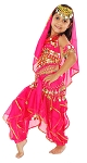 Little Girls Endless Waves Arabian Princess Bollywood Costume - ROSE PINK
