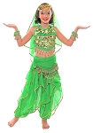 Little Girls Endless Waves Arabian Princess Bollywood Costume - GREEN