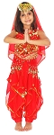 Little Girls Bollywood Princess Belly Dance Costume - RED