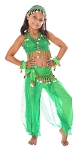 6-Piece Sparkle & Shine Genie Belly Dancer Kids Costume - GREEN