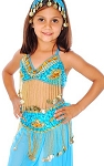 Little Girls Beaded Belly Dance Costume Top & Belt Set - TURQUOISE