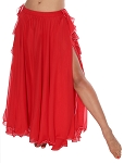 2-Layer Chiffon Belly Dance Skirt with Ruffle Fringe - RED