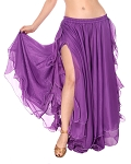 2-Layer Chiffon Belly Dance Skirt with Ruffle Fringe - PURPLE