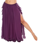 2-Layer Chiffon Belly Dance Skirt with Ruffle Fringe - PURPLE PLUM