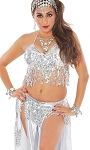 Sequin Fringe Metallic Halter Top and Belt Set - SILVER