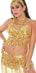 Sequin Fringe Metallic Halter Top and Belt Set - GOLD