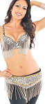 Sequin Cabaret Belly Dance Costume with Fringe - BLACK / SILVER