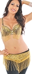 Sequin Cabaret Belly Dance Costume with Fringe - BLACK / GOLD