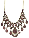 Deluxe Afghani Kuchi Tribal Teardrop Necklace - JASPER / BURGUNDY