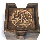 Hand-Carved Wood Indian Elephant Coaster Gift Set
