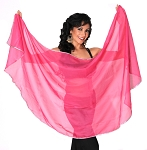 Petite Semi-Circle Chiffon Belly Dance Veil with Sequin Trim - ROSE PINK / SILVER