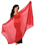 Petite Chiffon Belly Dance Veil with Sequin Trim - RED / SILVER