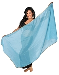 Petite Chiffon Belly Dance Veil with Sequin Trim - BLUE TURQUOISE / GOLD