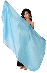 Petite Chiffon Belly Dance Veil with Sequin Trim - BLUE TURQUOISE / SILVER