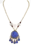 Afghani Tribal Belly Dance Jewelry Lapis Pendant Necklace