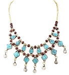 Afghani Tribal Necklace with Diamond Turquoise Pendants and Bells