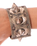 Afghani Kuchi Spike Tribal Cuff Bracelet - ANTIQUE SILVER