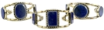 Floating Stone Afghani Kuchi Tribal Belly Dance Cuff Bracelet - LAPIS