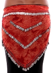 Chiffon Tie Dye Coin Belly Dance Hip Scarf - VOLCANIC ROSE / SILVER