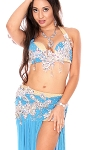 CAIRO COLLECTION: Professional Belly Dance Costume from Egypt - LIGHT BLUE / SILVER