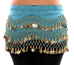 Chiffon Belly Dance Hip Scarf with Beads & Coins - TURQUOISE / GOLD