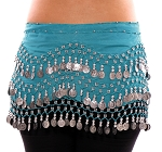 2 Sizes: Chiffon Belly Dance Hip Scarf with Beads & Coins - TURQUOISE / SILVER