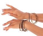 Belly Dance Jewelry - Set of 15 Embossed Beaded Gold Bangles - BLUE