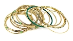 Belly Dance Jewelry - Set of 15 Embossed Beaded Gold Bangles - GREEN