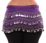 Plus Size 1X - 4X Chiffon Belly Dance Hip Scarf with Coins - PURPLE GRAPE / SILVER