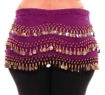 Plus Size 1X - 4X Chiffon Belly Dance Hip Scarf with Coins - PURPLE PLUM / GOLD