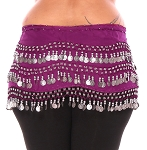 Plus Size 1X - 4X Chiffon Belly Dance Hip Scarf with Coins - PURPLE PLUM / SILVER