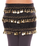 3-Row Straight Design Classic Belly Dance Coin Hip Scarf - BLACK / GOLD