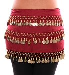 3-Row Straight Design Classic Belly Dance Coin Hip Scarf - RED ROSE / GOLD